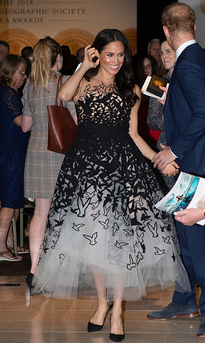 Duchess Meghan had her princess moment in a stunning Oscar de la Renta gown while attending the Australian Geographic Society Awards in Australia, where she gave the Young Conservationist of the Year award to Sophia Skarparis.