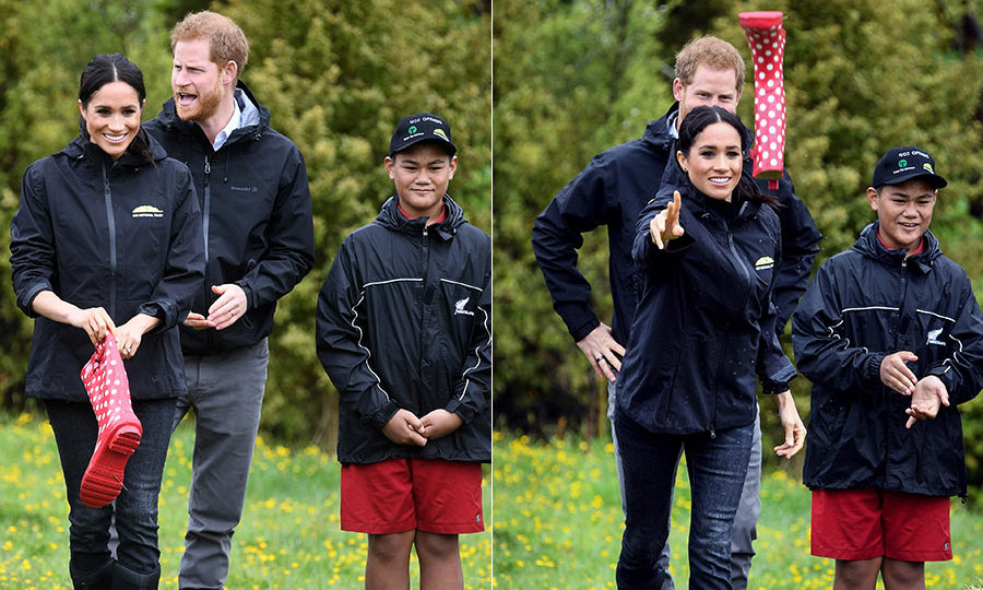 Meghan's team came out victorious when the couple tried their hands at welly-wanging (aka throwing rainboots!) in Abel Tasman National Park alongside young participants of the Trees For Survival program.