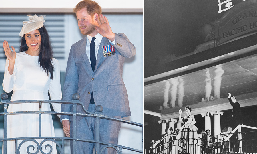 The Duke and Duchess of Sussex recreated the Queen and Prince Charles' famous balcony wave at Fiji's Grand Pacific Hotel. Her Majesty and Philip were on their world coronation tour when they made a stop in the South Pacific country and stayed at the lavish resort.