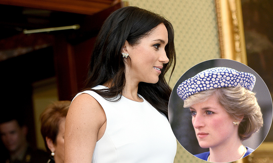For Meghan's first day in Australia – just hours after announcing her pregnancy – she dazzled in a pair of Princess Diana's earrings. Diana was first spotted wearing them in May 1986, one year after Prince Harry was born.