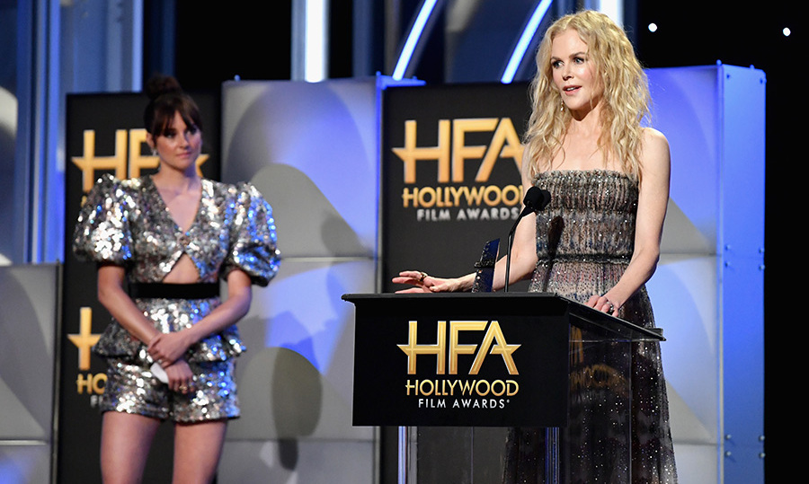 "After presenting her <em>Big Little Lies</em> costar with the Hollywood Career Achievement Award, Ralph & Russo-clad Shailene Woodley watched on as Nicole Kidman gave a teary acceptance speech. ""I get emotional these days, so much more than I used to,"" said the <em>Destroyer</em> star. She also gushed about ""the man who I love, the love of my life, Keith,"" with whom she celebrated her 12th anniversary earlier this year. 