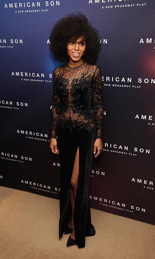 Kerry washington looked stunning as she feted the opening night of her Broadway show <em>American Son</em> on Nov. 4 in New York wearing a semi-sheer Zuhair Murad gown.