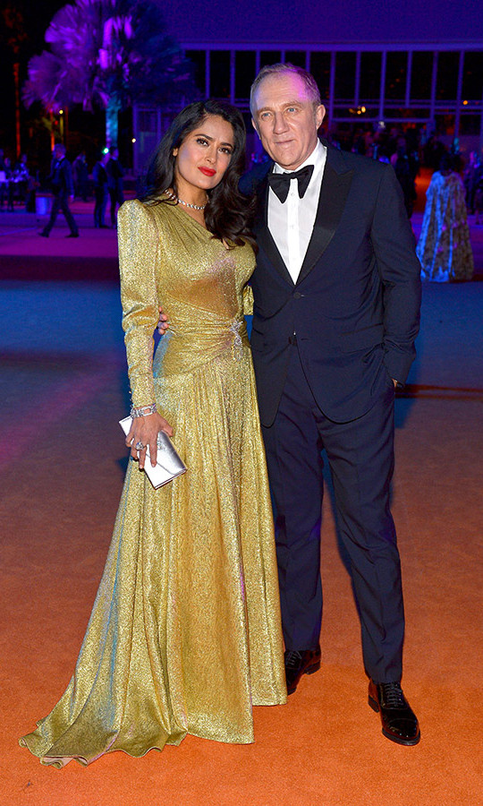 Salma Hayek and hubby François-Henri Pinault made quite the dapper pair as they attended the 2018 LACMA Art + Film Gala on Nov. 3 in Los Angeles. The star of <em>The Hummingbird Project</em> wore a golden Gucci gown for the artsy affair. 