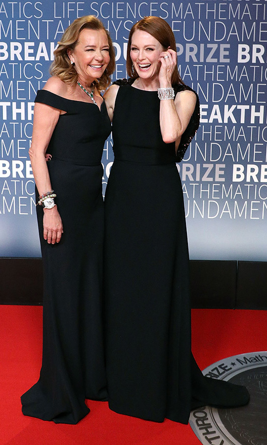 Julianne Moore wore bespoke Prada and Chopard jewels as she shared a red-carpet giggle with Chopard's Caroline Scheufele at the 2019 Breakthrough Prize event at NASA Ames Research Center. 