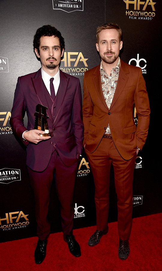 Canadian star Ryan Gosling was perfectly coordinated with his <em>First Man</em> director Damien Chazelle at the HFAs, where he honoured the visionary behind the Neil Armstrong biopic with the Hollywood Director Award. 