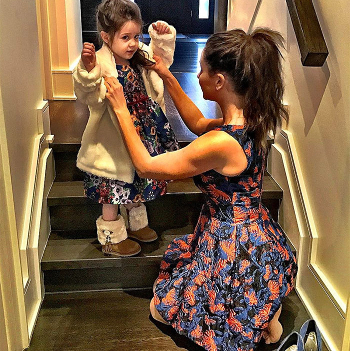 "While taking Ivy to her first-ever red carpet party, the two decided to coordinate their prints! ""We will not choose Function over Fashion,"" mom Jessica captioned the picture.