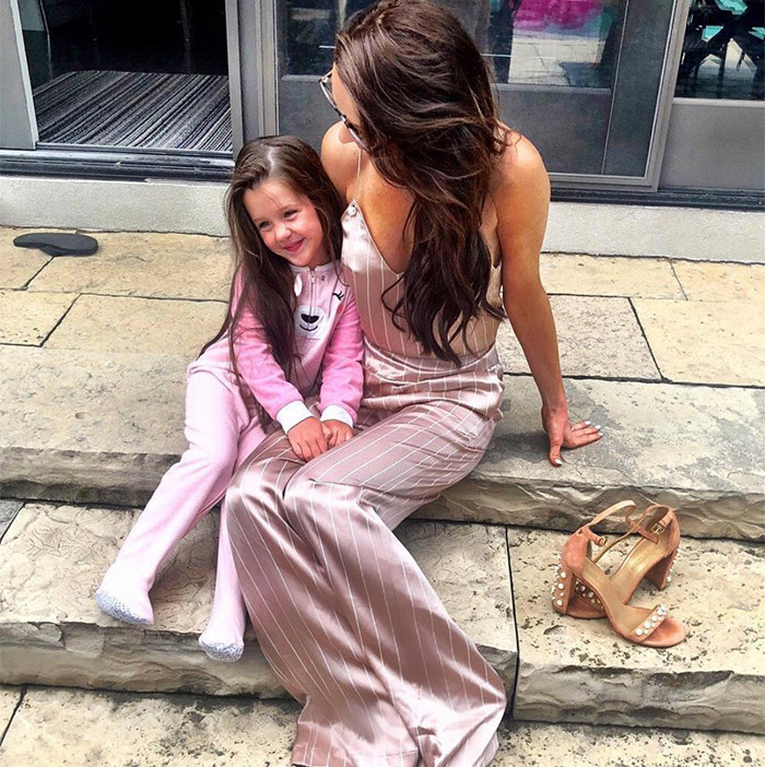 "Pretty in pink! ""Two sets of pyjamas. One for bed. One for cocktails,"" Jessica captioned the photo.