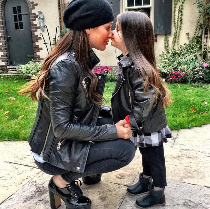 Awww! These two make biker chic look anything but tough, despite their matching moto jackets and leather boots.