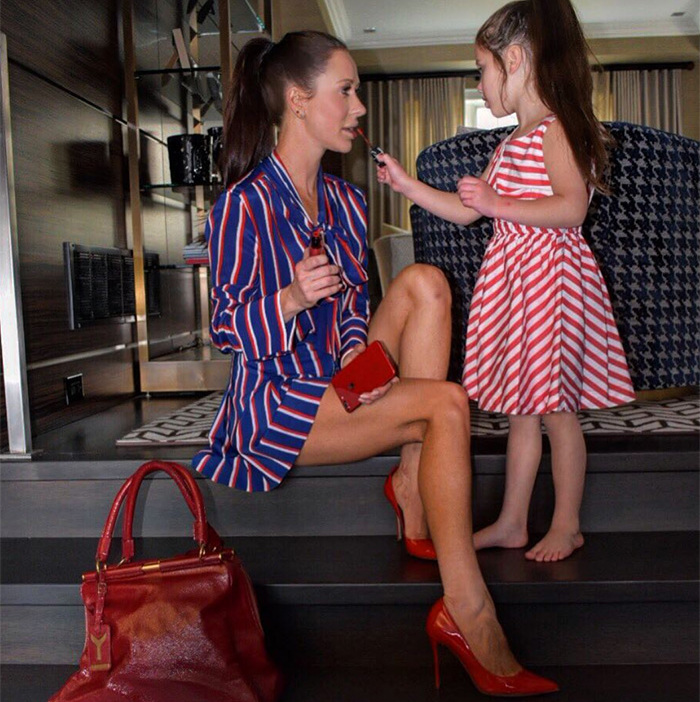 "Stripes all the way! Jessica had her mini one-woman glam squad on hand. ""Little touch up before work,"" she wrote on Instagram.