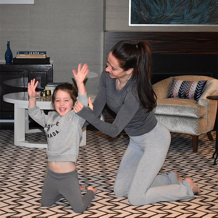 "Ivy and her stylist mom discovered mommy-daughter yoga – and had the cutest matching outfits! ""Our teacher may or may not have been a little frustrated with us,"" Jessica joked on Instagram.