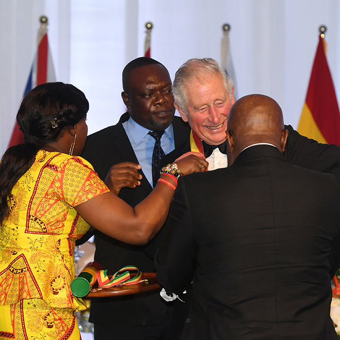 Prince Charles showed off his megawatt smile during a meaningful ceremony in Ghana. The Prince of Wales was made a Companion of the Order of the Star of Ghana by President Nana Akufo-Addo during their state dinner at the Jubilee House. He was clearly delighted by the honour!