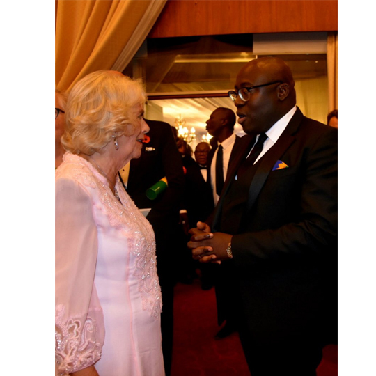 The Duchess of Cornwall met with British stylist Edward Enninful and some of the designers who took part in a fashion show at the dinner.