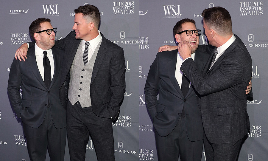 <em>21 Jump Street</em> co-stars Jonah Hill and Channing Tatum had a joyful reunion at the WSJ Magazine Innovator Awards at the MOMA on Nov. 7.