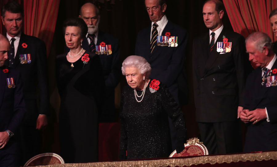 Members of the Royal Family remained standing as Her Majesty took her seat.