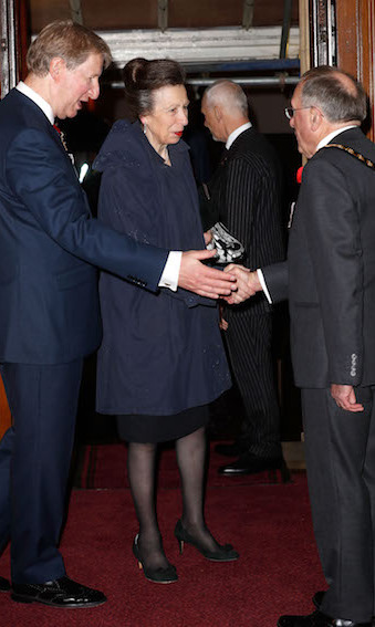 Princess Anne arrived for the service looking elegant in a black dress and simple navy coat. The royal wore her hair up in a pretty bun.