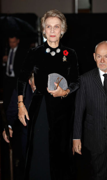 Birgitte, the Duchess of Gloucester, wore a chic black velvet gown, accessorized with simple silver jewels and a poppy. She royal carried a pretty metallic clutch for the occasion.