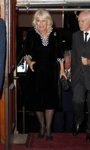 The Duchess of Cornwall, fresh off her tour of West Africa with Prince Charles, donned a stunning black-and-white velvet dress.