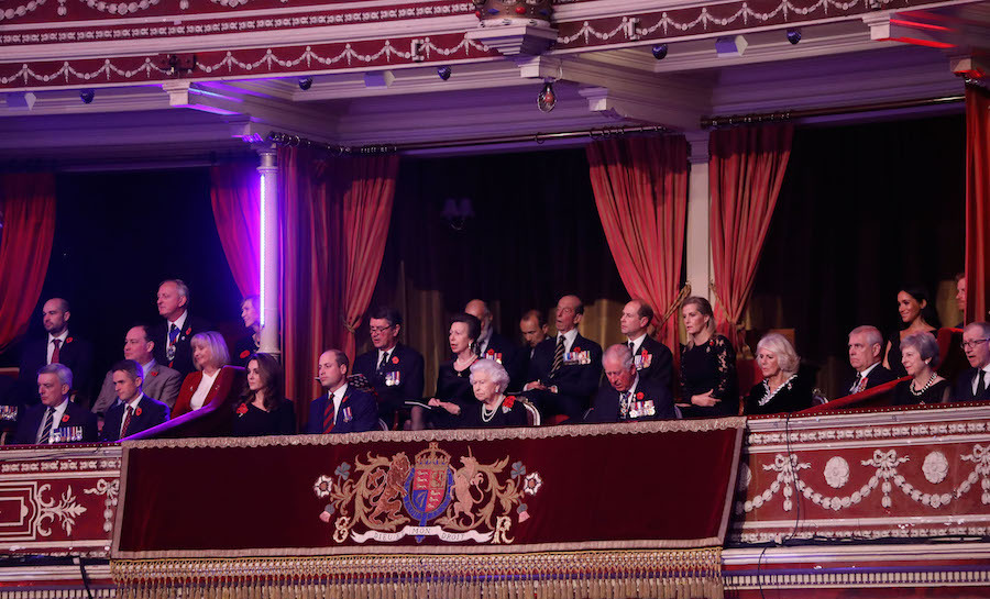 Members of the British Royal Family sat together on the balcony for the ceremony.
