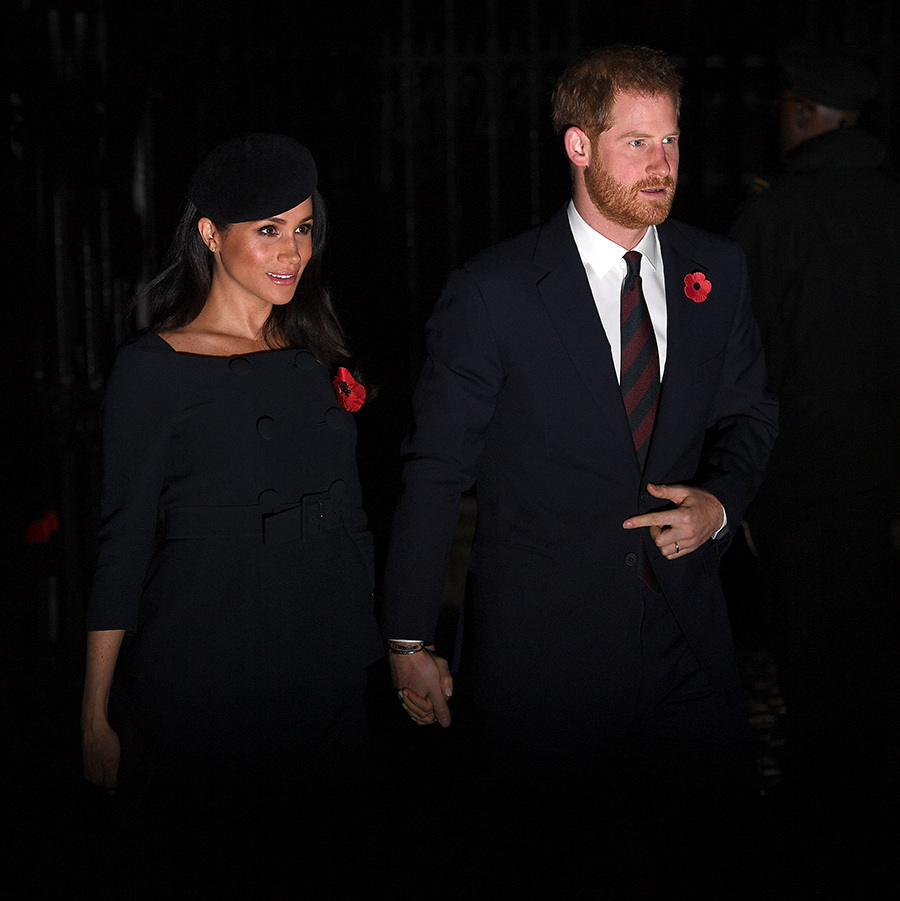 Expectant parents Prince Harry and Meghan arrived at Westminster Abbey hand in hand, where they were perfectly coordinated in navy blue.