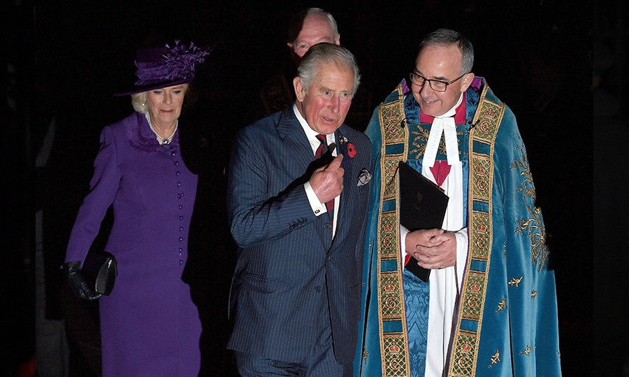 Prince Charles arrived with his wife Camilla, fresh from their eight-day tour of West Africa. The Duchess of Cornwall was perfectly coordinated with Her Majesty in a purple coat dress and matching hat, while the future king wore a blue suit.
