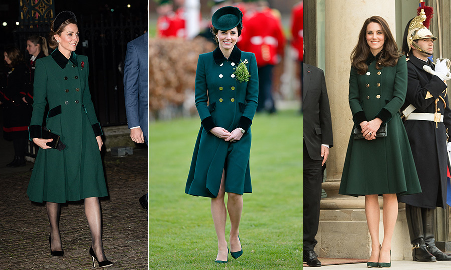 Kate stepped out in a stunning green Catherine Walker coat with velvet cuffs, collar and pockets on Nov. 11, 2018 to mark the Centenary of Armistice at Westminster Abbey. She paired the look with her new go-to accessory, an oversized headband, which she wore in velvet, plus a black clutch and matching pumps. She previously wore the chic double-breasted number to two events on the same day, March 17, 2017. The expectant royal attended the St Patrick's Day parade that morning before jetting to Paris for a visit with Prince William, where she traded her green hat for a Chelsea blowout. 