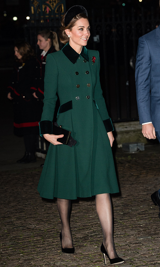 Kate has worn her deep green Catherine Walker coat before! Last year, she attended the St Patrick's Day parade in the chic velvet-adorned topper before jetting to Paris for a visit with Prince William clad in the same ensemble. Her Jane Taylor headband breathed new life into the look for the Remembrance Day service.