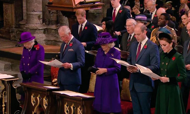 Inside Westminster Abbey, the Queen sat beside Prince Charles and Camilla, who was next to Prince William and Kate. Prince Harry and Meghan were seated behind Her Majesty.