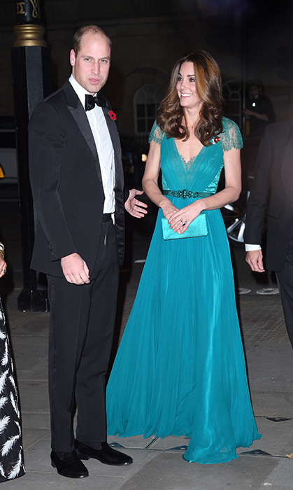 Duchess Kate recycled a stunning Jenny Packham gown for the Tusk Conservation Awards on Nov. 8. She first wore this dress in 2012 when she attended an Olympic dinner with Team Great Britain. The mom of three paired the jewel-toned number with a similarly hued satin clutch and wore her shiny brown locks in her classic waves.