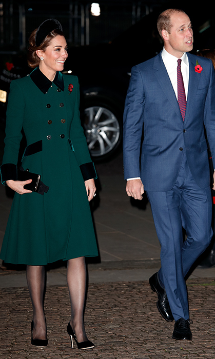 Duchess Kate recycled her favourite green Catherine Walker coat, which she wore to last year's St. Patrick's Day service in Ireland and on her visit to Paris. The emerald coat boasts beautiful velvet detailing, and she finished off the look with black suede pumps, a small clutch and a black velvet oversized headband.