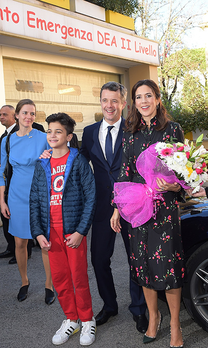 Crown Princess Mary stunned in a black floral dress and Valentino stud heels during a visit to Bambin Gesu Pediatric Hospital in Rome, Italy on Nov. 8.