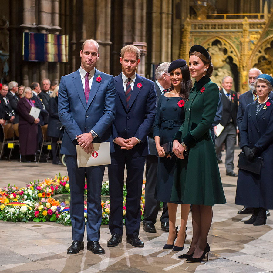 Princes William and Harry and their wives, Duchesses Kate and Meghan, were photographed as a foursome for the first time since Princess Eugenie's royal wedding as they arrived at the service. 