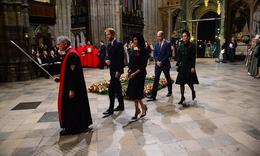 "The 'fab four' make their entrance at Westminster Abbey, where Prince William and Kate said ""I do"" in 2011.