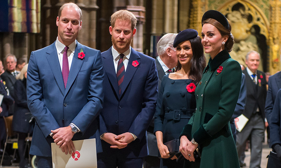 The quad wore their matching poppies as they arrived for the service, posing for one photo before taking their seats. 