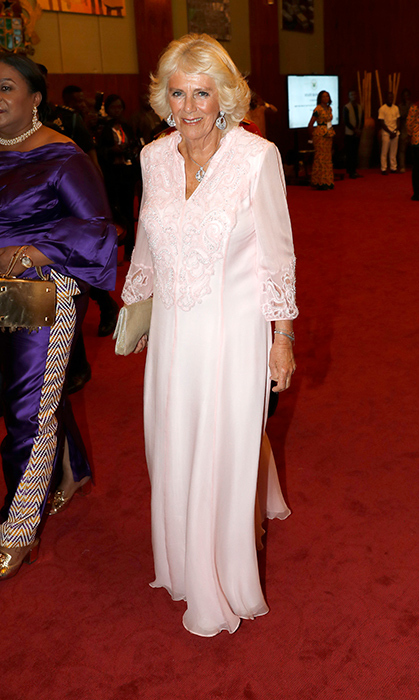 Duchess Camilla dazzled in powder pink perfection while joining First Lady of Ghana Rebecca Akufo-Addo at the State Banquet while on royal tour on Nov. 5.
