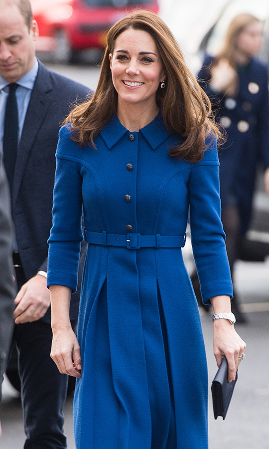 Kate wore her lightened locks in a voluminous blowout and a natural face of makeup featuring her favourite taupe eyeshadow, rosy cheeks and a subtle pink lip.