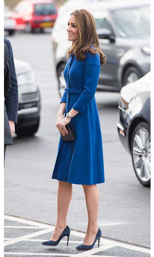 The duchess, who recently added copper-toned highlights to her locks, looked beautiful on her day out with Prince William.