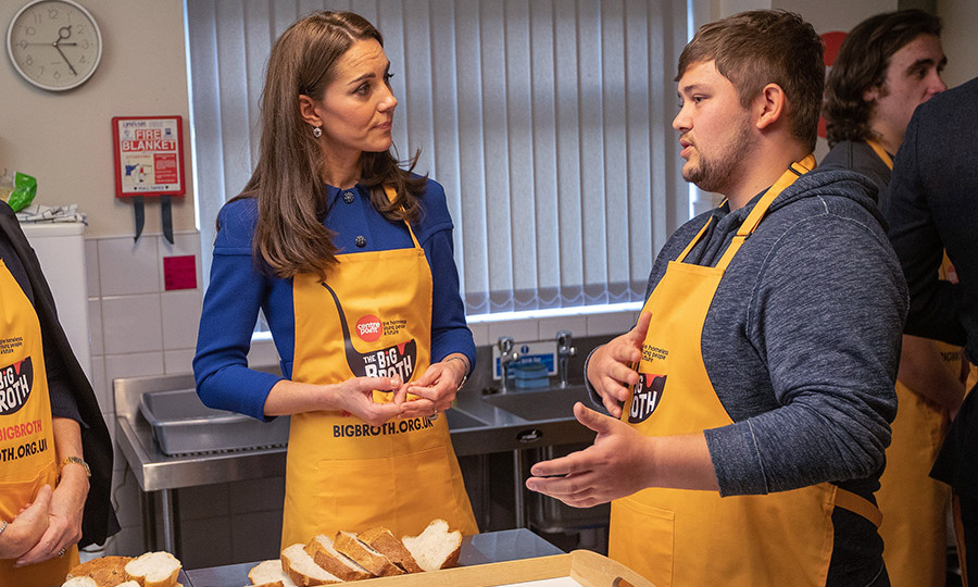 Duchess Kate learned about the hostel's important work as she lent a hand in the kitchen.