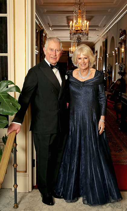 Prince Charles and Camilla posed for a special portrait in their finery at Buckingham Palace. The snap was taken by royal photographer Chris Jackson, who also shot the royal's newly released family portraits from September. Camilla wears a striking, off-shoulder navy gown with long sleeves and a flouncy skirt, which she paired with a diamond necklace and earrings. 