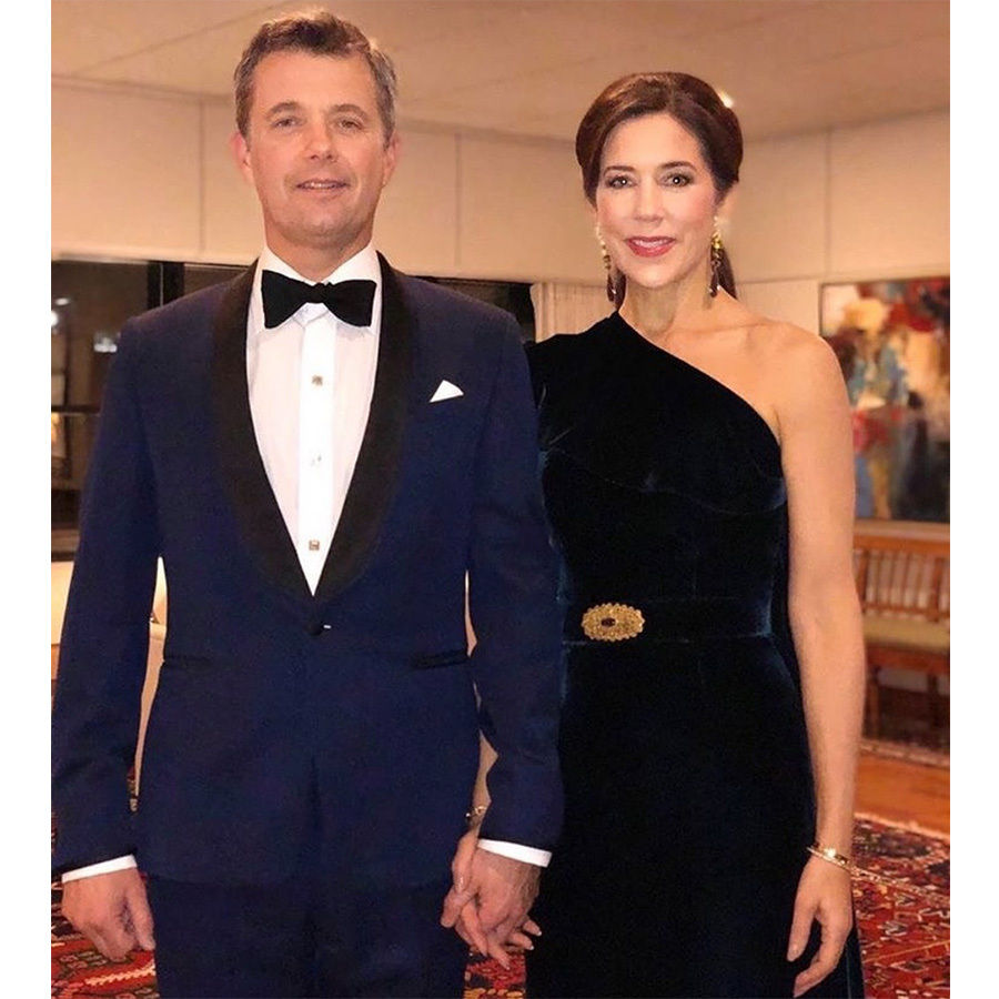 Crown Princess Mary of Denmark posed with her dashing husband, Crown Prince Frederik, before the pair set off for Prince Charles' glitzy birthday bash. The pair was perfectly coordinated, with the future king in a navy tuxedo and his gorgeous wife in a one-shoulder blue velvet gown with a gold-embellished belt and a pink lip.