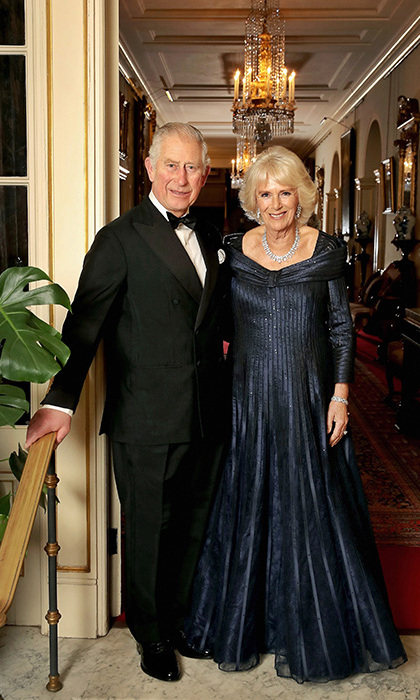 The only photo taken from inside Buckingham Palace was this sweet snap of the man of the hour, Prince Charles, with his leading lady, the Duchess of Cornwall. Camilla pulled out all the style to celebrate her husband's 70th birthday with royalty from around the world, opting for an off-shoulder navy Bruce Oldfield gown with a full skirt and long sleeves. She topped it off with a diamond and pearl necklace and earrings with a glittering earrings. 