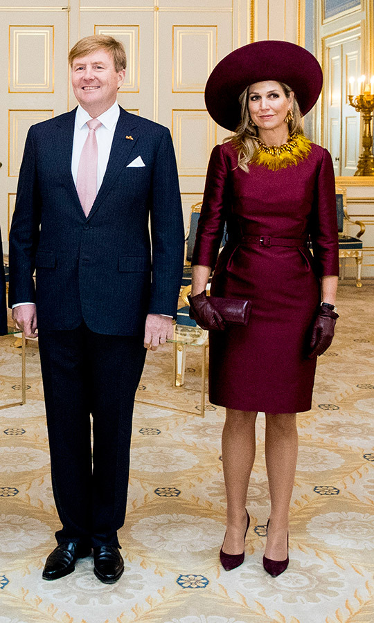 Queen Maxima was festooned with funky yellow feathers as she and King Willem-Alexander welcomed the President of Austria to the Netherlands. The royal wore a belted burgundy shift with three-quarter sleeves and a matching wide-brimmed hat, one of many from her show-stopping collection. She finished the polished look with a burgundy leather clutch, matching gloves and dark pumps.