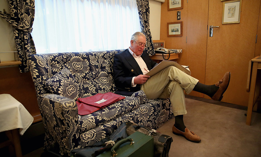 Back in February, Prince Charles took a ride to Durham on the royal train, where he poured over his briefing notes on a patterned couch. 