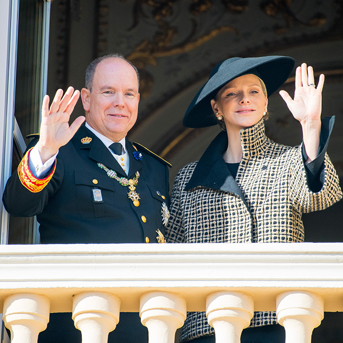 Prince Albert and Princess Charlene waved to their adoring fans from the palace balcony in Monte Carlo, Monaco.