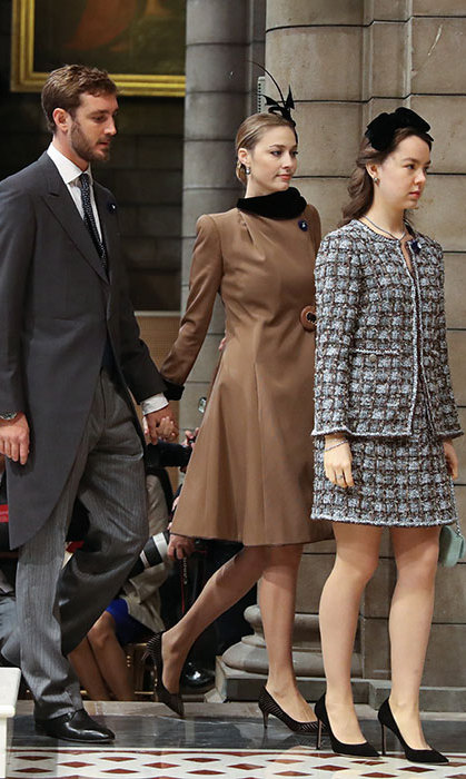 Pierre Casiraghi and his wife Beatrice looked regal as ever, with Princess Caroline's youngest son wearing a dapper morning coat while his wife dazzled in a chic brown coat dress. Pierre's younger sister Princess Alexandra of Hanover, 19, looked regal in a tweed suit and a bow fascinator on top of her pretty curls.