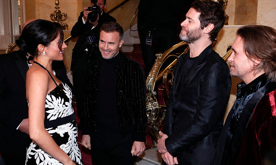 Meghan had a fun chat with the performers from Take That, who took the stage at the star-studded event. Other performers included George Ezra, Andrea and Matteo Bocelli and the cast of <em>Hamilton</em>, which the duchess has seen three times!
