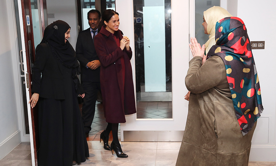 The Duchess of Sussex was positively beaming as she entered the Hubb Community Kitchen's stunning new space, which was redesigned with input from the women. The facility features a professional kitchen, where they continue to make food for their community, as well as a sitting area. 