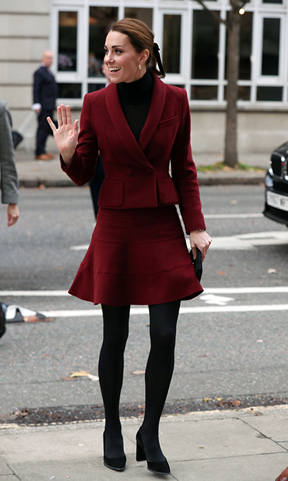 "The <a href=""/tags/0/kate-middleton/"">Duchess of Cambridge</a> wore her heart on her blazer during a surprise visit to University College London on Wednesday (Nov. 21) alongside her private secretary Catherine Quinn. Kate paid a visit to the campus for a chat with Professor Eamon McCrory – the co-director of the Developmental Risk and Resilience Unit in the Psychology & Language Science department – and looked sharp as ever in a coordinating ensemble. 