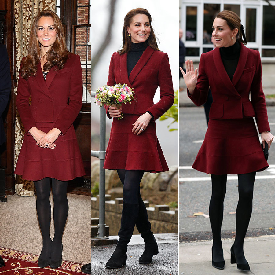 Kate made a surprise visit to the University College London on Nov. 22, 2018 wearing a gorgeous, berry-hued suit by Parisian label Paule Ka, which eagle-eyed fans quickly recognized as a rewear. The duchess also donned the design for a visit to the Caerphilly Family Intervention Team in Wales on Feb. 22, 2017 (centre) as well as a visit to Middle Temple on Oct. 8, 2012 (left). While she often styled the suit with black tights and a black turtleneck (though she opted for a camisole in 2012), its the duchess's shoes and hairstyle that vary it up - from her Chelsea blowout in 2012 to her half-up, half-down 'do in 2017 and the adorable ponytail with a velvet ribbon she wore most recently. Suede pumps seem to be her go-to but last year she opted for knee-high suede boots on a particularly rainy day. 