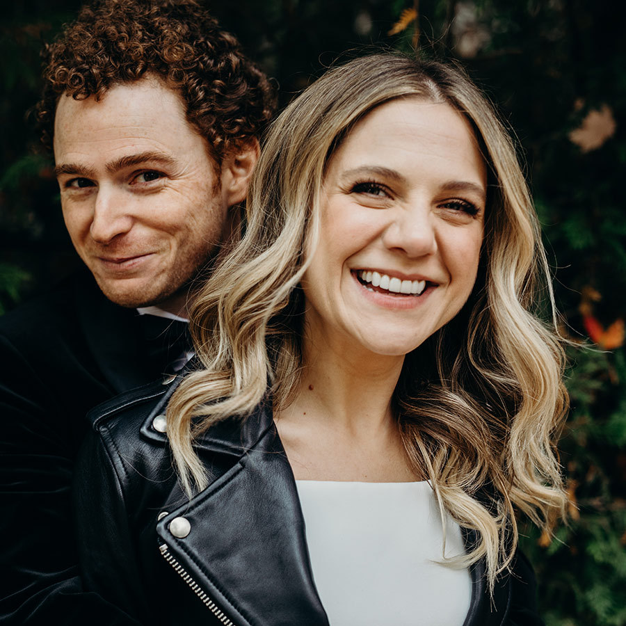 The couple starred in the most beautiful outdoor wedding photoshoot ever. Lauren accessorized her dress with a Mackage leather jacket.