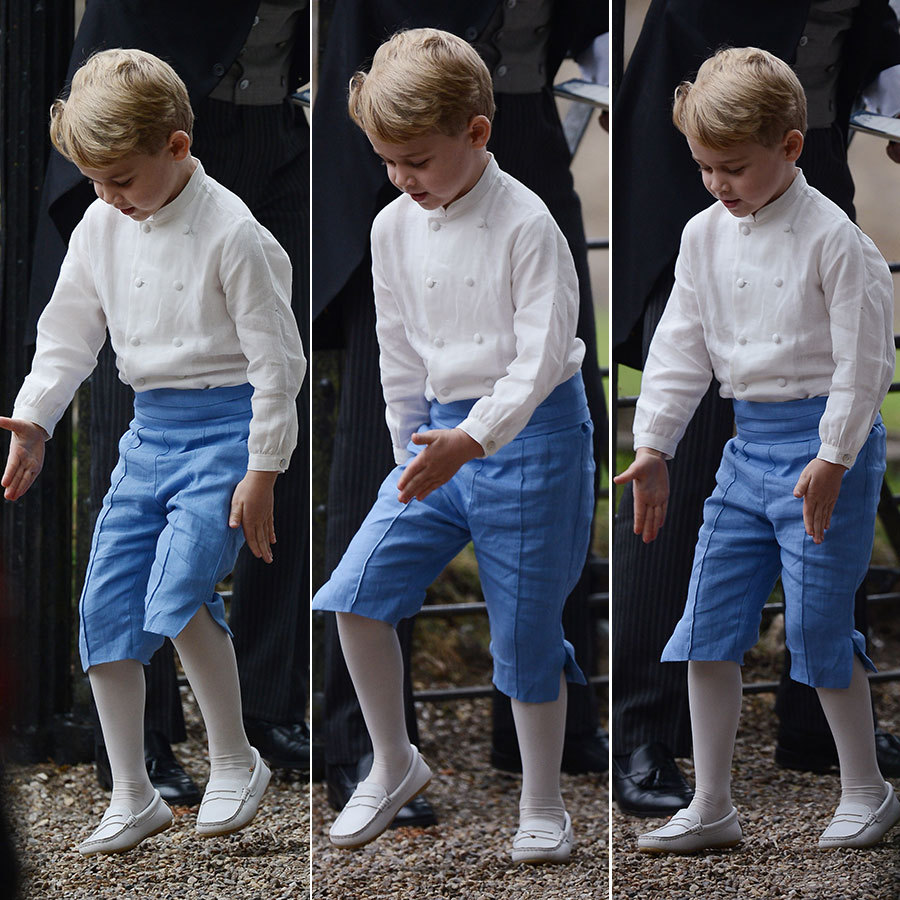 Prince George appeared to do a little jig as the group prepared to walk into the church.